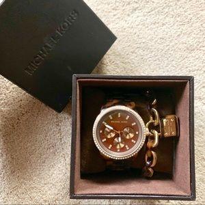 Michael Kors Studded Tortoise watch and bracelet